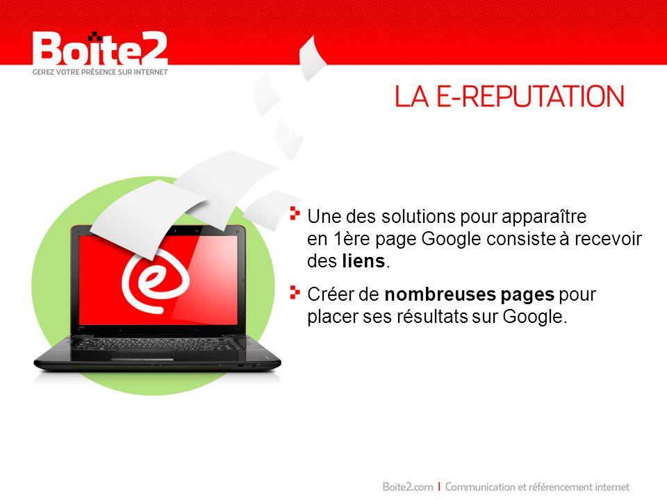 Une des solutions pour apparaître en 1ère page Google consiste à recevoir des liens. Créer de nombreuses pages pour placer ses résultats sur Google.
