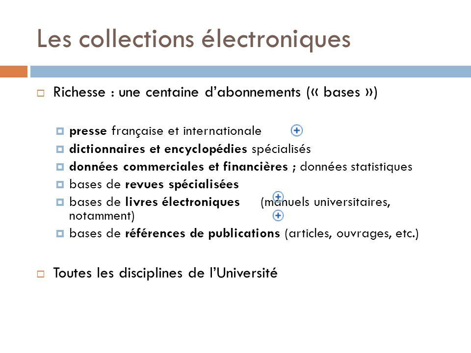 Les collections électroniques Richesse : une centaine dabonnements (« bases ») presse française et internationale dictionnaires et encyclopédies spéci