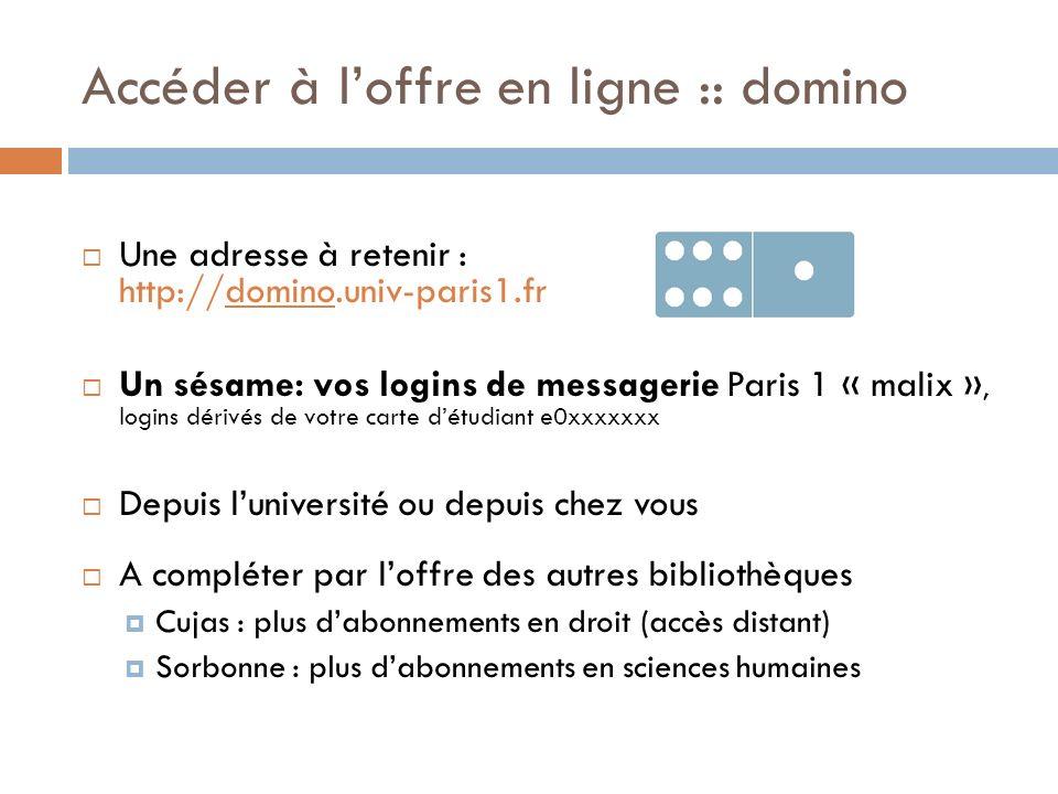 Accéder à loffre en ligne :: domino Une adresse à retenir : http://domino.univ-paris1.fr Un sésame: vos logins de messagerie Paris 1 « malix », logins