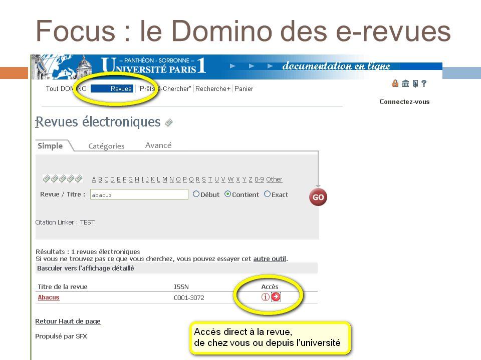 Focus : le Domino des e-revues