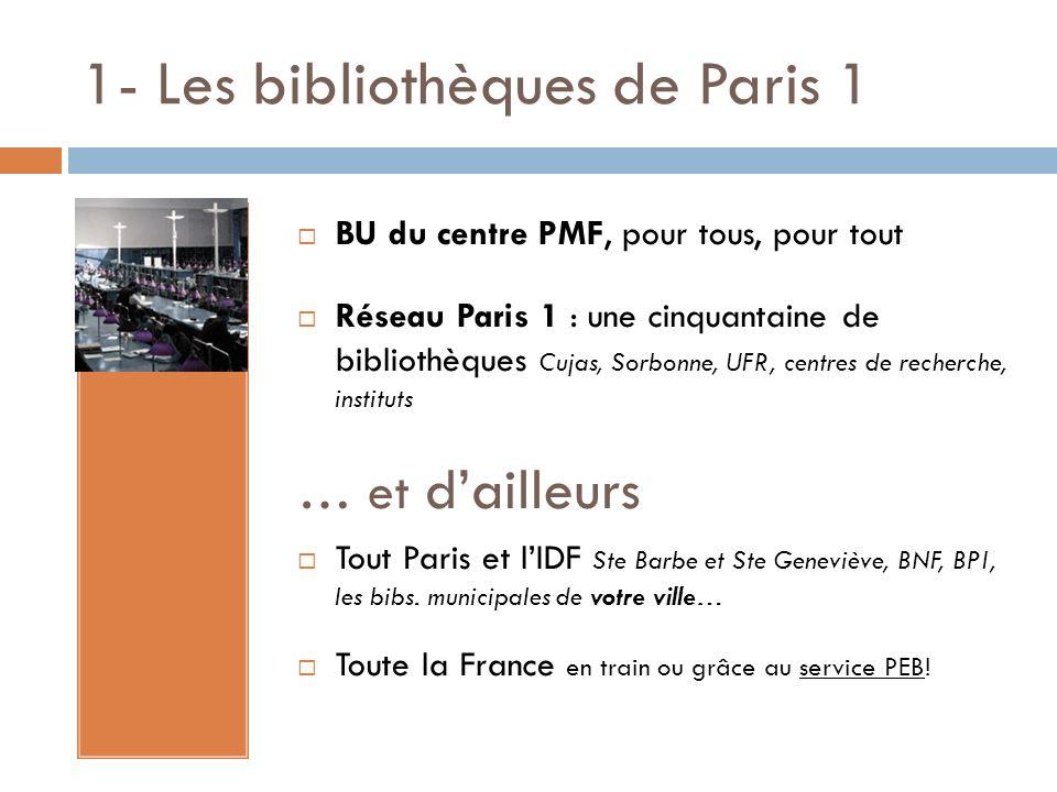1- Les bibliothèques de Paris 1 BU du centre PMF, pour tous, pour tout Réseau Paris 1 : une cinquantaine de bibliothèques Cujas, Sorbonne, UFR, centre