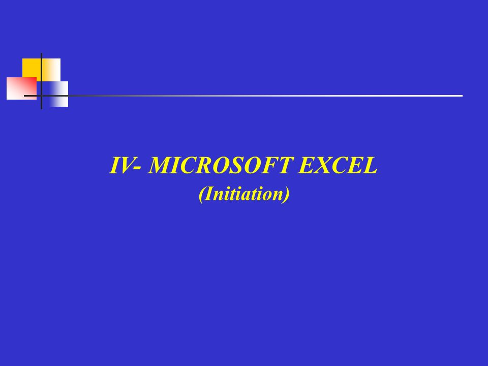IV- MICROSOFT EXCEL (Initiation)