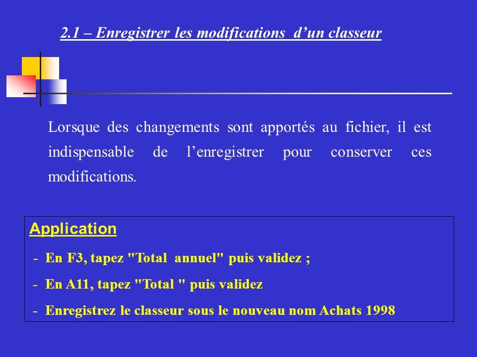 2.1 – Enregistrer les modifications dun classeur Lorsque des changements sont apportés au fichier, il est indispensable de lenregistrer pour conserver ces modifications.