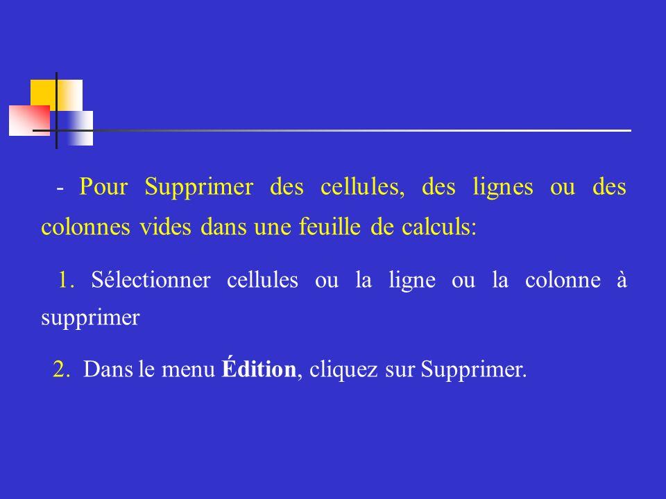 - Pour Supprimer des cellules, des lignes ou des colonnes vides dans une feuille de calculs: 1.