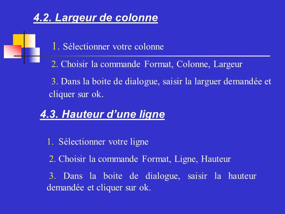 4.2. Largeur de colonne Sélectionner votre colonne Choisir la commande Format, Colonne, Largeur Dans la boite de dialogue, saisir la larguer demandée