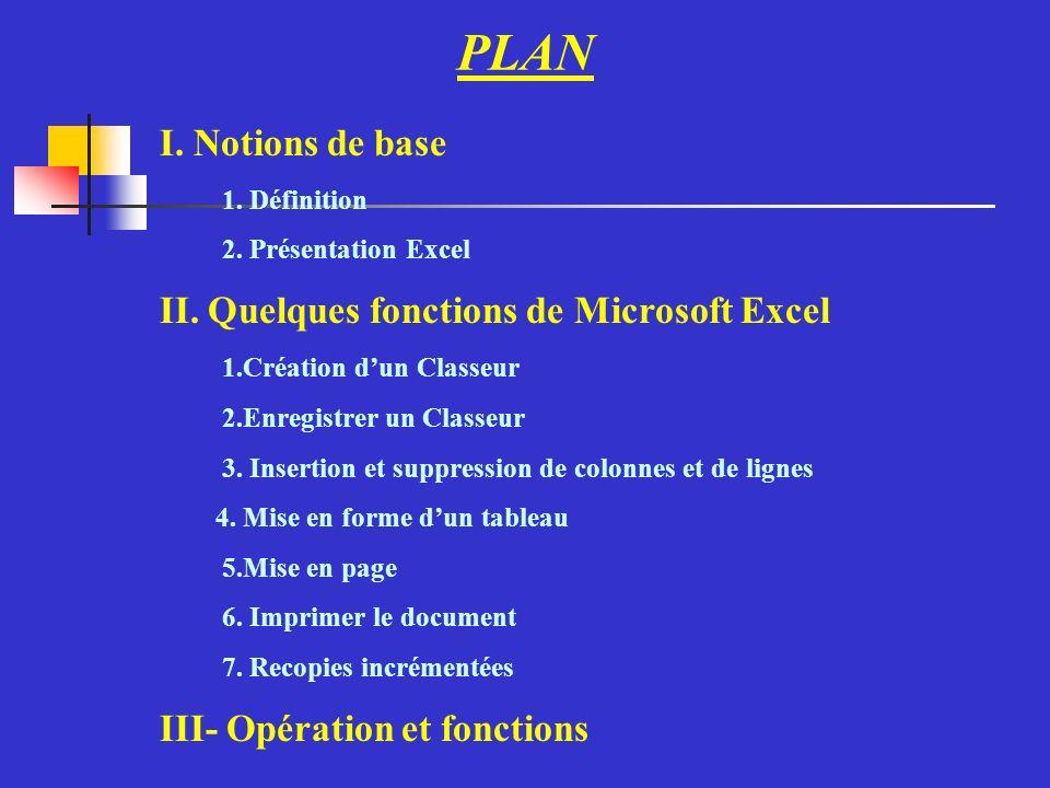 I. Notions de base 1. Définition 2. Présentation Excel II.