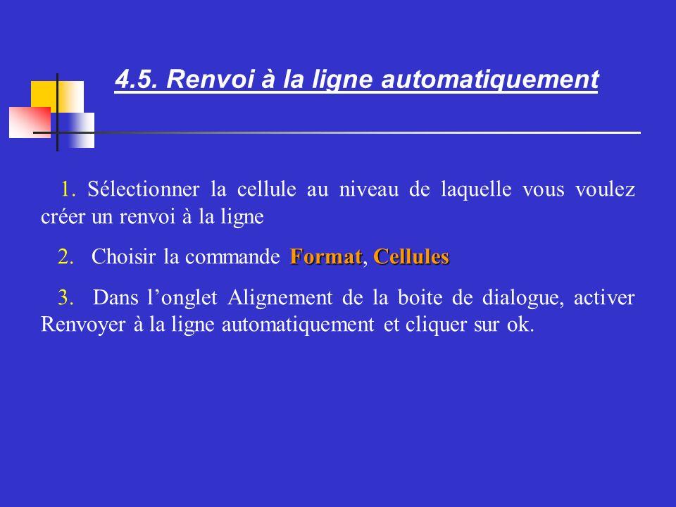 4.5. Renvoi à la ligne automatiquement Sélectionner la cellule au niveau de laquelle vous voulez créer un renvoi à la ligne FormatCellules Choisir la