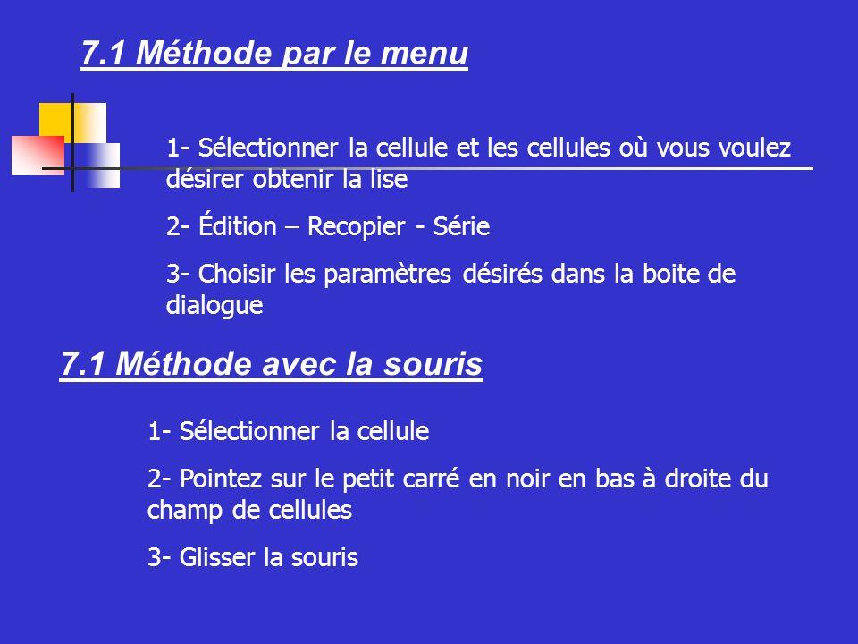 7.1 Méthode par le menu 7.1 Méthode avec la souris 1- Sélectionner la cellule et les cellules où vous voulez désirer obtenir la lise 2- Édition – Recopier - Série 3- Choisir les paramètres désirés dans la boite de dialogue 1- Sélectionner la cellule 2- Pointez sur le petit carré en noir en bas à droite du champ de cellules 3- Glisser la souris
