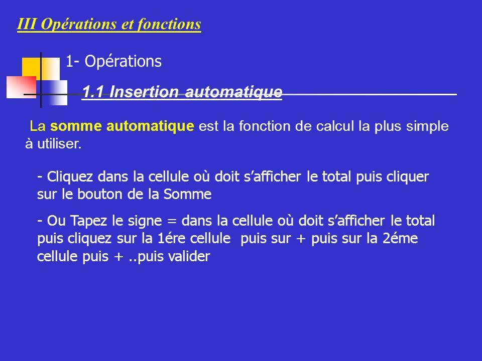III Opérations et fonctions 1- Opérations 1.1 Insertion automatique La somme automatique est la fonction de calcul la plus simple à utiliser.