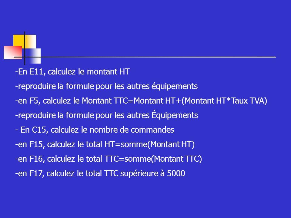 -En E11, calculez le montant HT -reproduire la formule pour les autres équipements -en F5, calculez le Montant TTC=Montant HT+(Montant HT*Taux TVA) -reproduire la formule pour les autres Équipements - En C15, calculez le nombre de commandes -en F15, calculez le total HT=somme(Montant HT) -en F16, calculez le total TTC=somme(Montant TTC) -en F17, calculez le total TTC supérieure à 5000