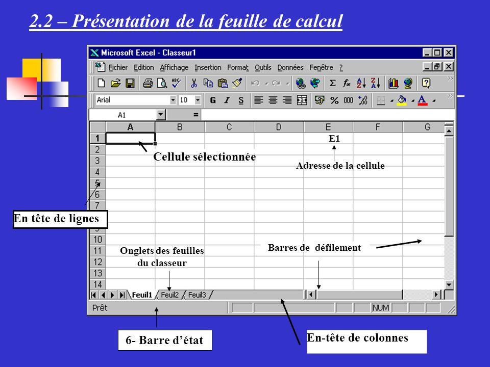II.Quelques fonctions de Microsoft Excel Application - 1.
