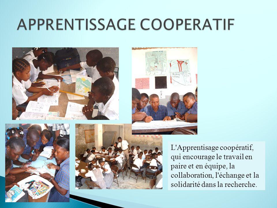 L'Apprentisage coopératif, qui encourage le travail en paire et en équipe, la collaboration, l'échange et la solidarité dans la recherche.