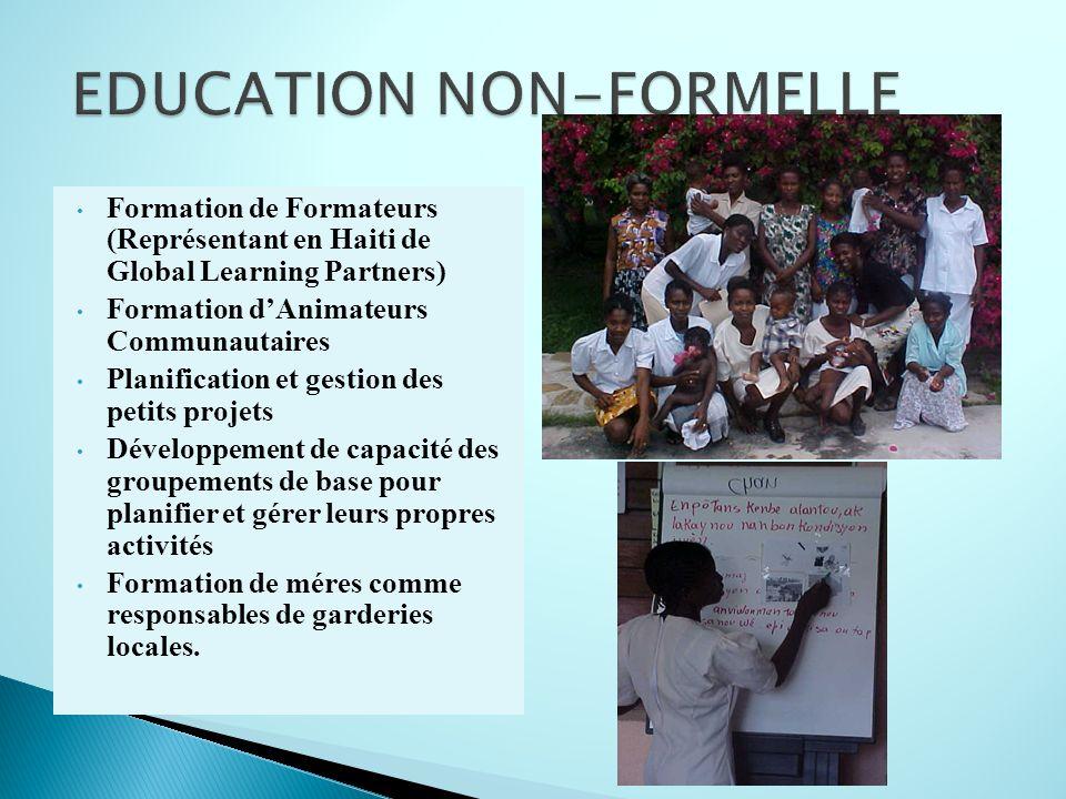 Formation de Formateurs (Représentant en Haiti de Global Learning Partners) Formation dAnimateurs Communautaires Planification et gestion des petits p
