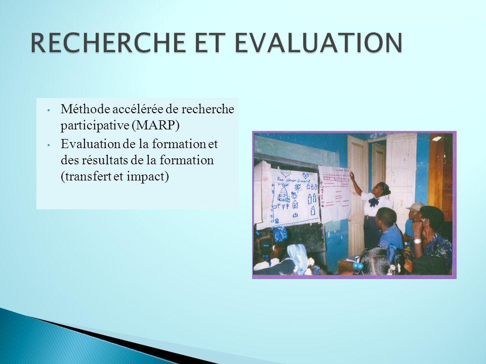 Méthode accélérée de recherche participative (MARP) Evaluation de la formation et des résultats de la formation (transfert et impact)