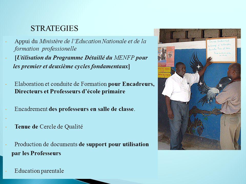 STRATEGIES Appui du Ministère de lEducation Nationale et de la formation professionelle [Utilisation du Programme Détaillé du MENFP pour les premier e