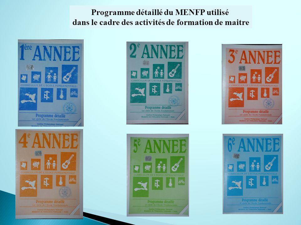Programme détaillé du MENFP utilisé dans le cadre des activités de formation de maitre