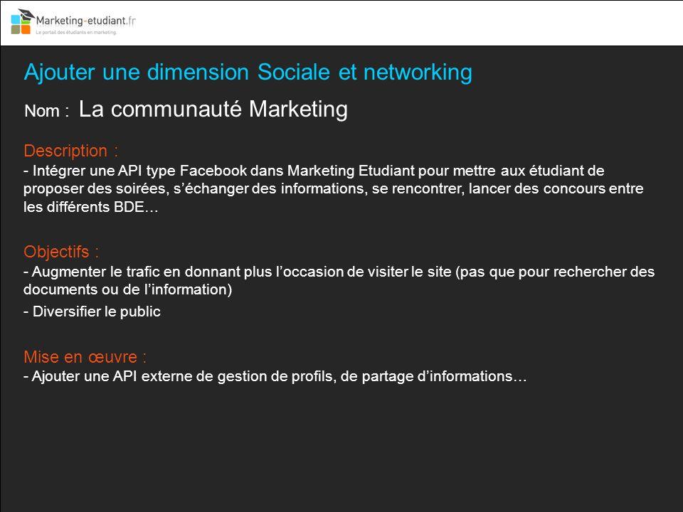 Ajouter une dimension Sociale et networking Nom : La communauté Marketing Description : - Intégrer une API type Facebook dans Marketing Etudiant pour