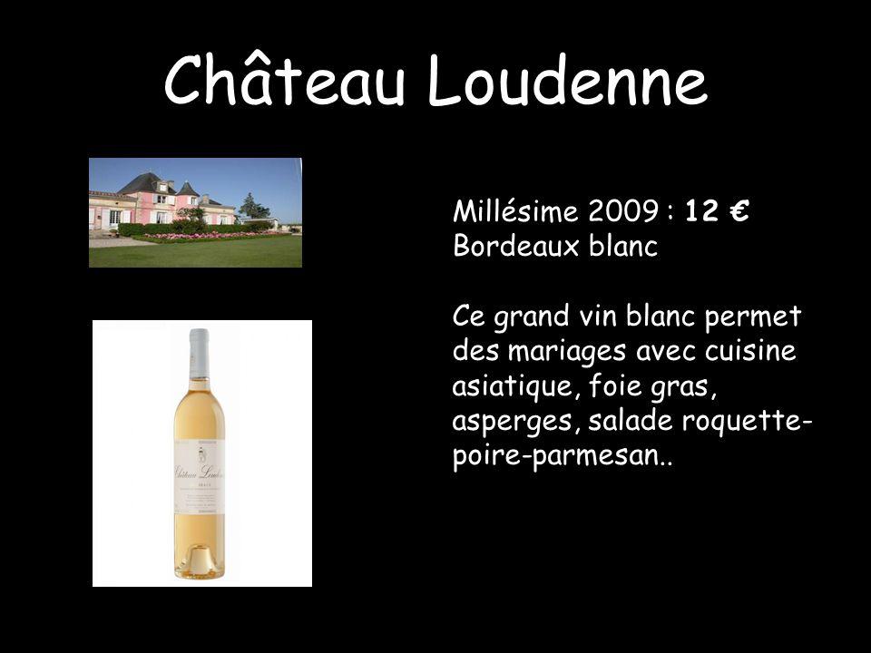 Château Loudenne Millésime 2009 : 12 Bordeaux blanc Ce grand vin blanc permet des mariages avec cuisine asiatique, foie gras, asperges, salade roquett