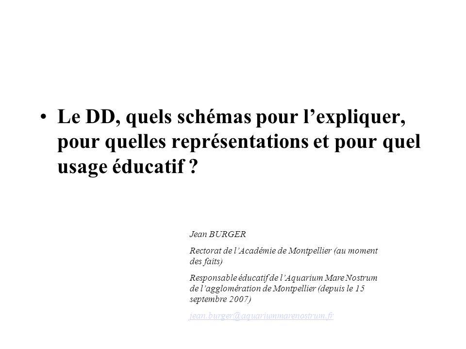 Le DD, quels schémas pour lexpliquer, pour quelles représentations et pour quel usage éducatif ? Jean BURGER Rectorat de lAcadémie de Montpellier (au