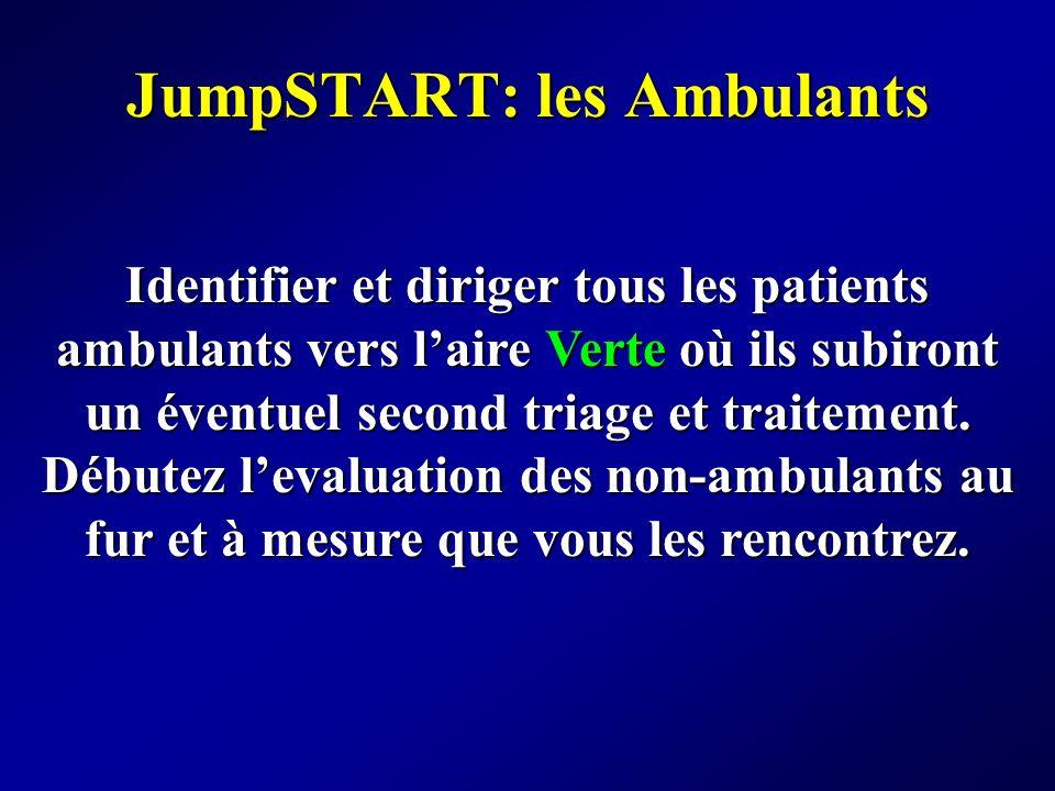 JumpSTART: les Ambulants Identifier et diriger tous les patients ambulants vers laire Verte où ils subiront un éventuel second triage et traitement. D
