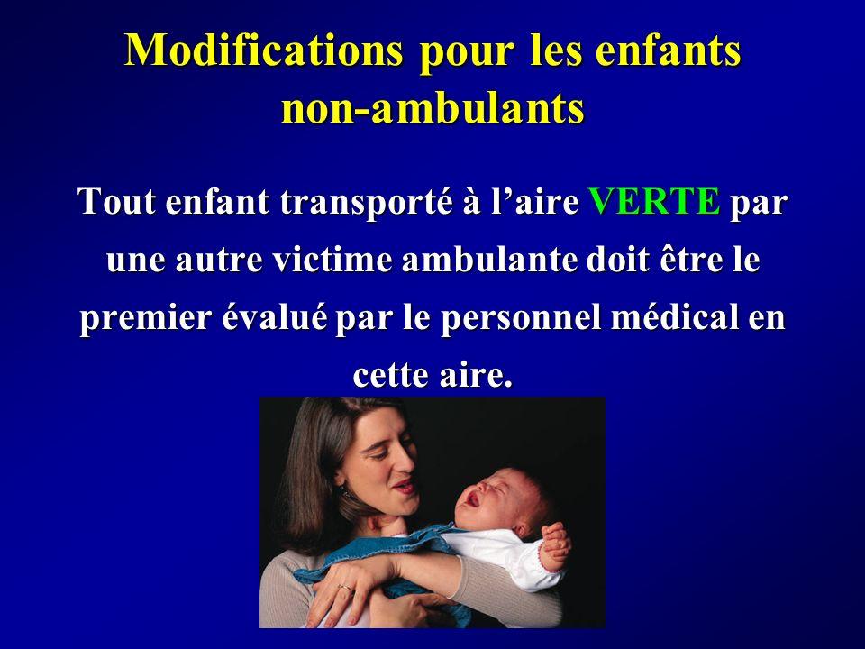 Modifications pour les enfants non-ambulants Tout enfant transporté à laire VERTE par une autre victime ambulante doit être le premier évalué par le p