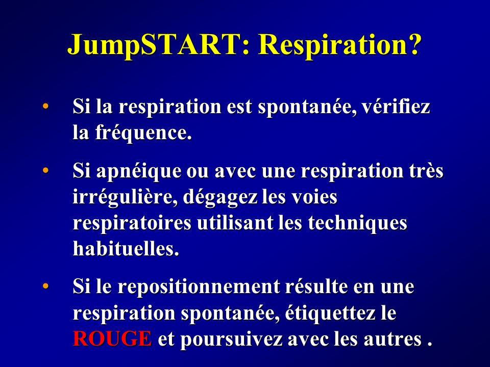 JumpSTART: Respiration? Si la respiration est spontanée, vérifiez la fréquence.Si la respiration est spontanée, vérifiez la fréquence. Si apnéique ou