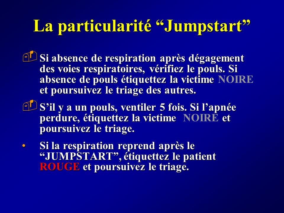 La particularité Jumpstart Si absence de respiration après dégagement des voies respiratoires, vérifiez le pouls. Si absence de pouls étiquettez la vi