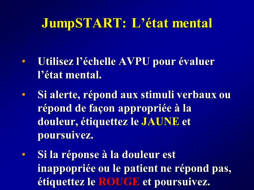 JumpSTART: Létat mental Utilisez léchelle AVPU pour évaluer létat mental.Utilisez léchelle AVPU pour évaluer létat mental. Si alerte, répond aux stimu