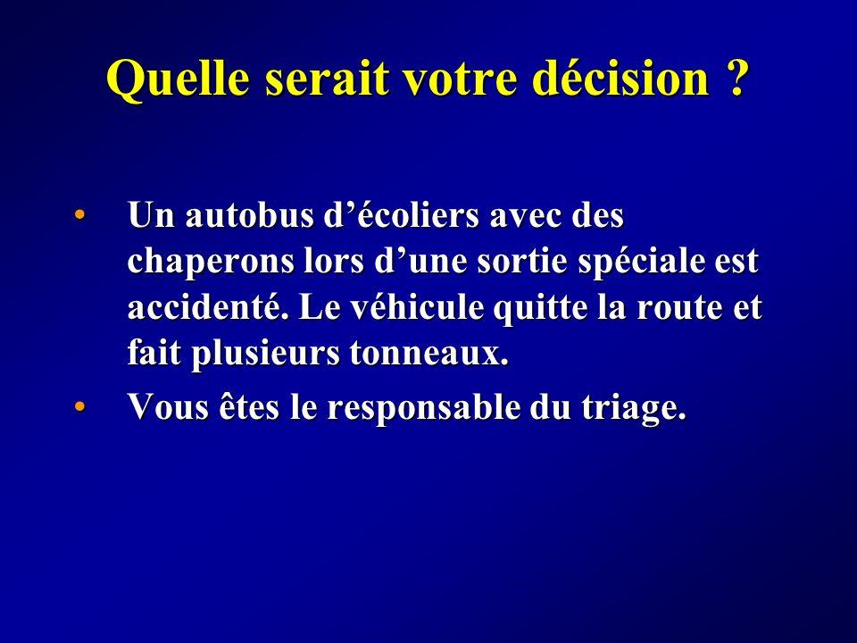 Quelle serait votre décision ? Un autobus décoliers avec des chaperons lors dune sortie spéciale est accidenté. Le véhicule quitte la route et fait pl