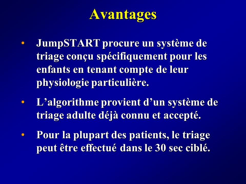 Avantages JumpSTART procure un système de triage conçu spécifiquement pour les enfants en tenant compte de leur physiologie particulière.JumpSTART pro