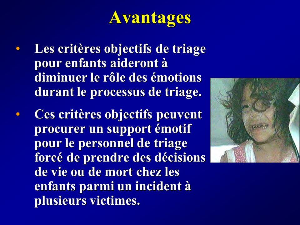 Avantages Les critères objectifs de triage pour enfants aideront à diminuer le rôle des émotions durant le processus de triage.Les critères objectifs