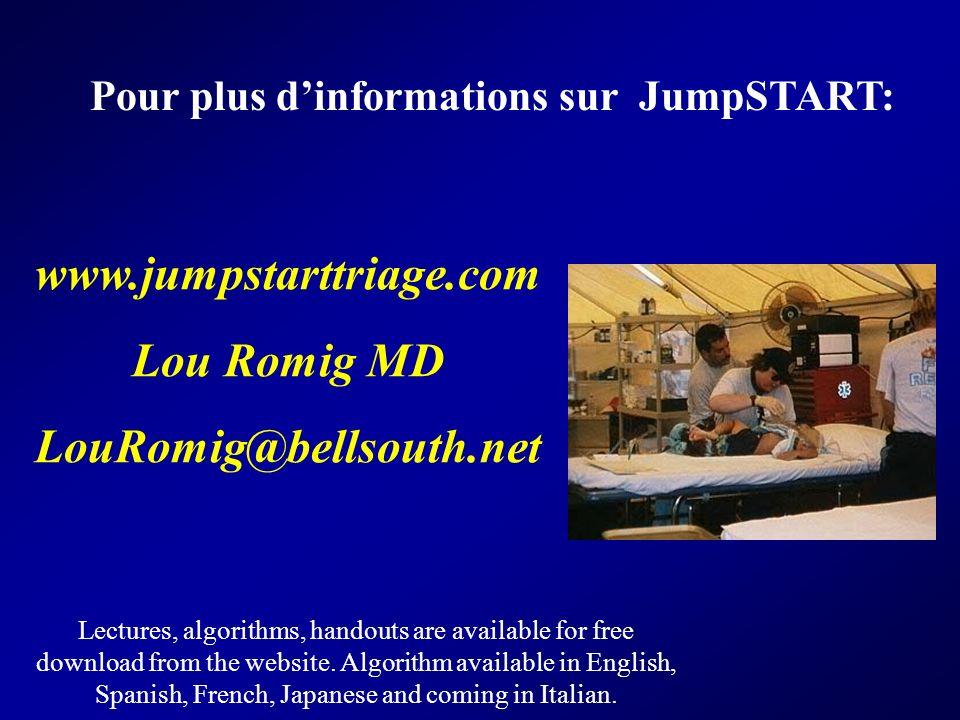 Pour plus dinformations sur JumpSTART: www.jumpstarttriage.com Lou Romig MD LouRomig@bellsouth.net Lectures, algorithms, handouts are available for fr