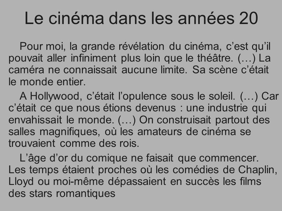 Le cinéma dans les années 20 Pour moi, la grande révélation du cinéma, cest quil pouvait aller infiniment plus loin que le théâtre. (…) La caméra ne c