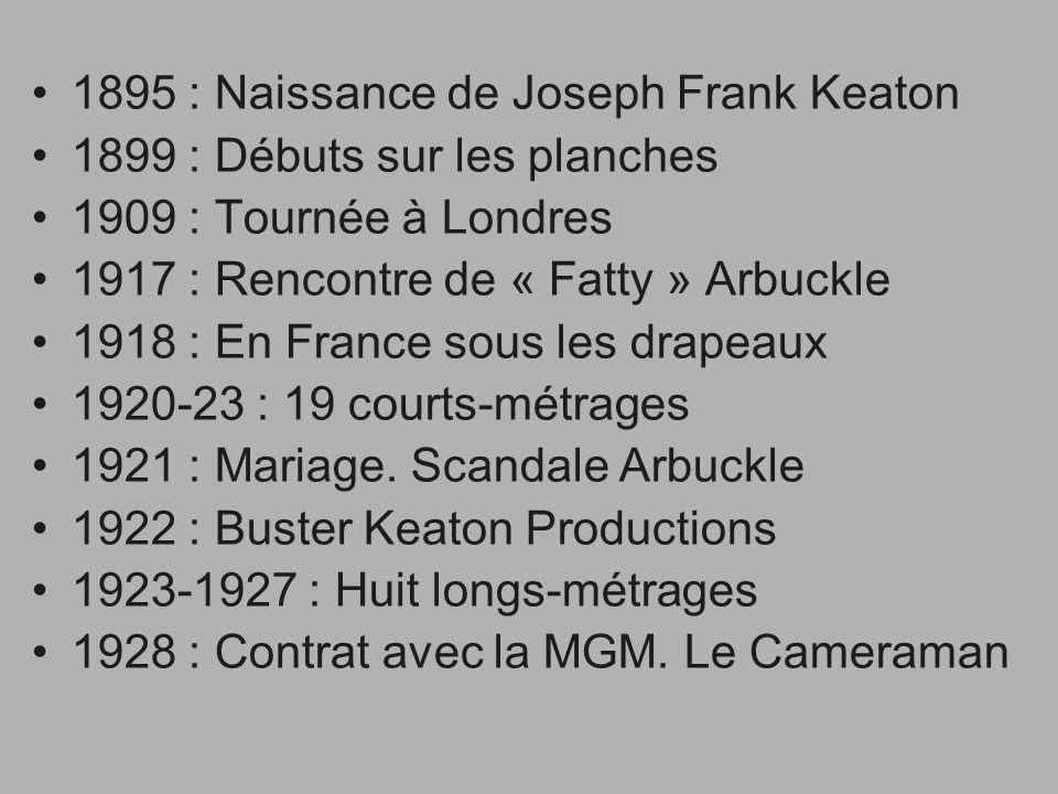 1895 : Naissance de Joseph Frank Keaton 1899 : Débuts sur les planches 1909 : Tournée à Londres 1917 : Rencontre de « Fatty » Arbuckle 1918 : En Franc