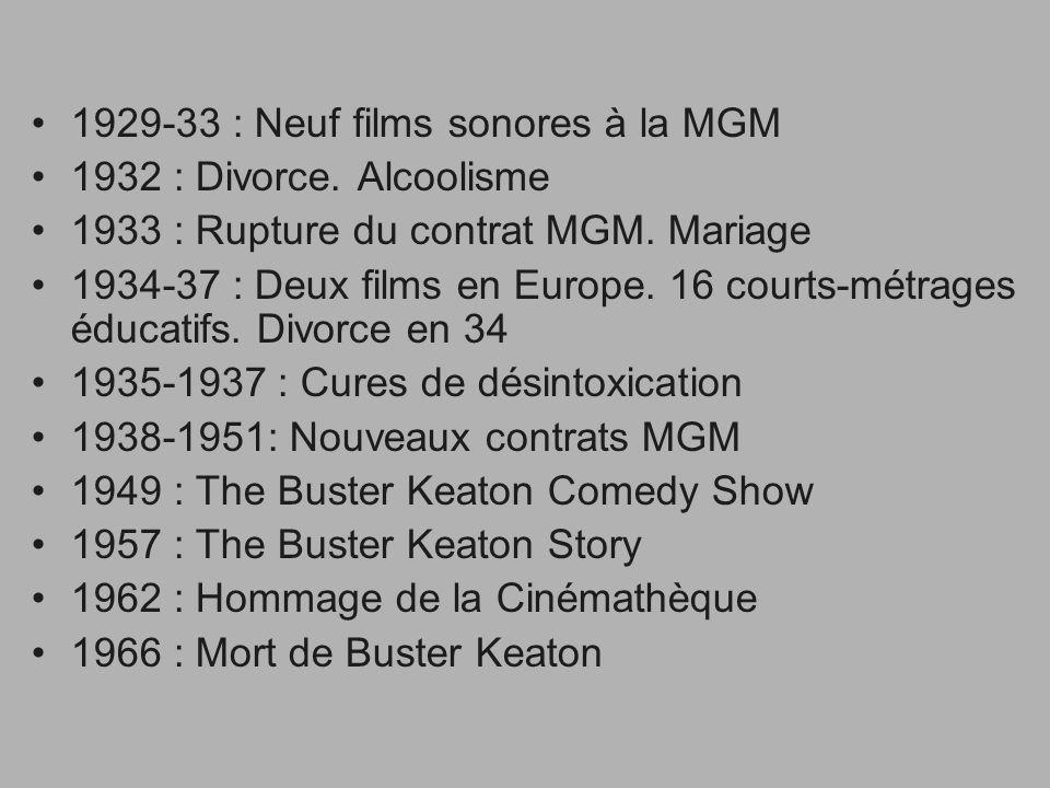 1929-33 : Neuf films sonores à la MGM 1932 : Divorce. Alcoolisme 1933 : Rupture du contrat MGM. Mariage 1934-37 : Deux films en Europe. 16 courts-métr