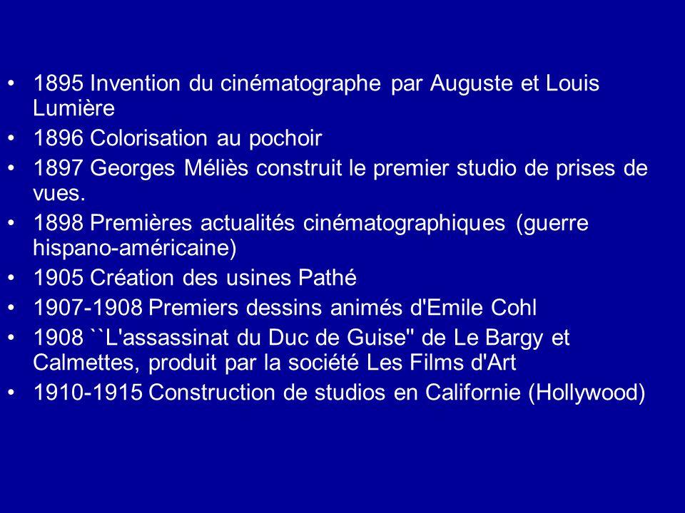 1895 Invention du cinématographe par Auguste et Louis Lumière 1896 Colorisation au pochoir 1897 Georges Méliès construit le premier studio de prises d
