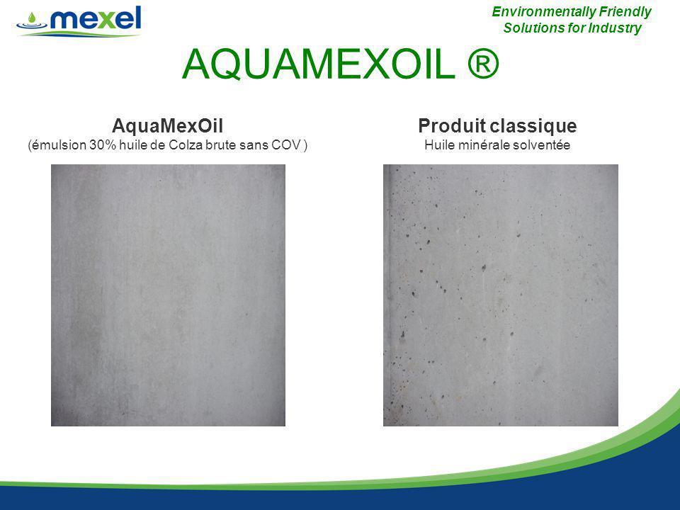 AQUAMEXOIL ® Environmentally Friendly Solutions for Industry AquaMexOil (émulsion 30% huile de Colza brute sans COV ) Produit classique Huile minérale solventée