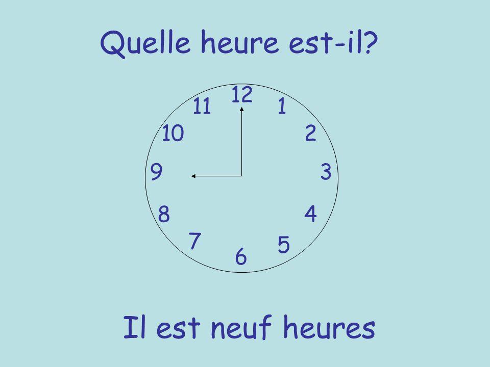 Quelle heure est-il? 12 6 93 8 7 1 2 5 4 10 11 Il est neuf heures