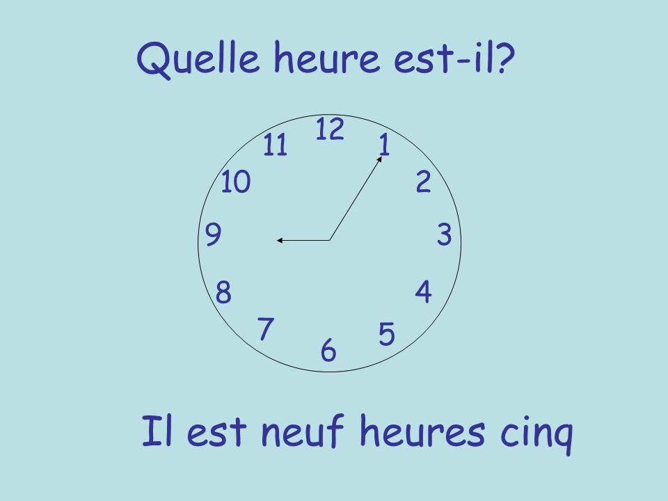 Quelle heure est-il? 12 6 93 8 7 1 2 5 4 10 11 Il est neuf heures cinq