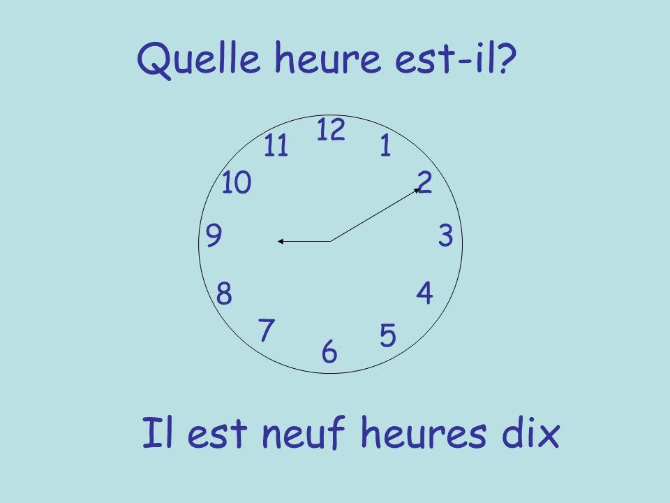 Quelle heure est-il? 12 6 93 8 7 1 2 5 4 10 11 Il est neuf heures dix