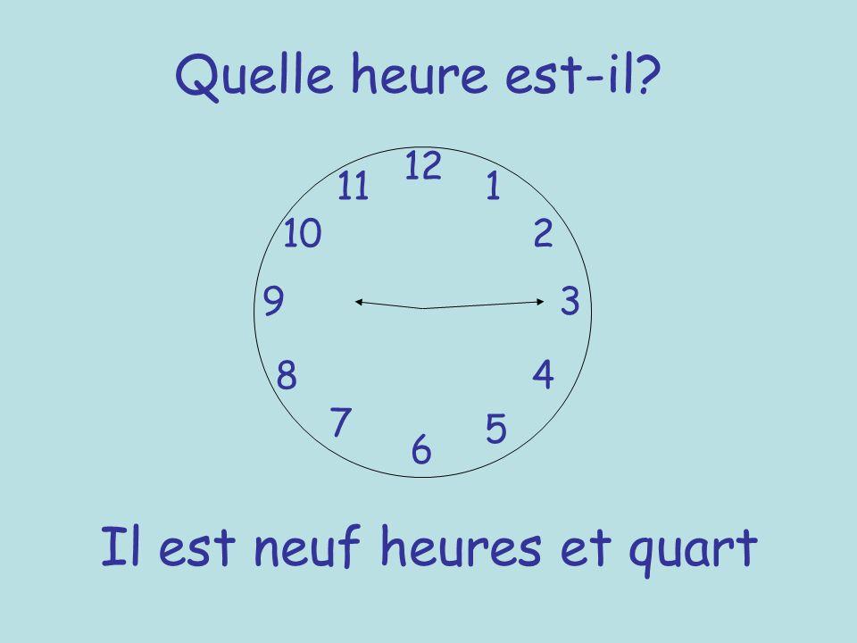 Quelle heure est-il? 12 6 93 8 7 1 2 5 4 10 11 Il est neuf heures et quart
