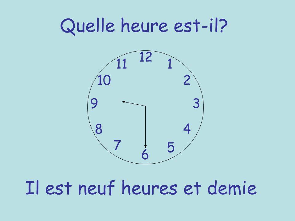 Quelle heure est-il? 12 6 93 8 7 1 2 5 4 10 11 Il est neuf heures et demie