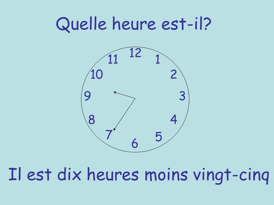 Quelle heure est-il? 12 6 93 8 7 1 2 5 4 10 11 Il est dix heures moins vingt-cinq