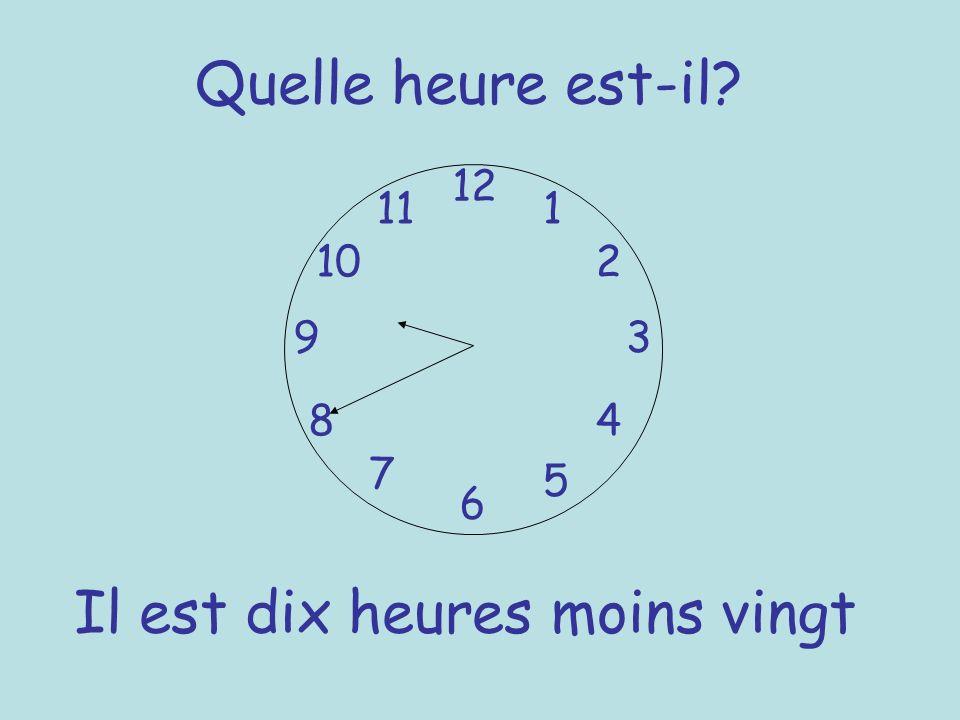 Quelle heure est-il? 12 6 93 8 7 1 2 5 4 10 11 Il est dix heures moins vingt
