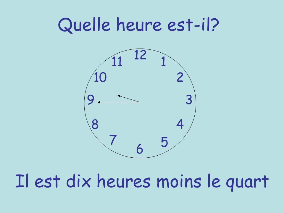 Quelle heure est-il? 12 6 93 8 7 1 2 5 4 10 11 Il est dix heures moins le quart