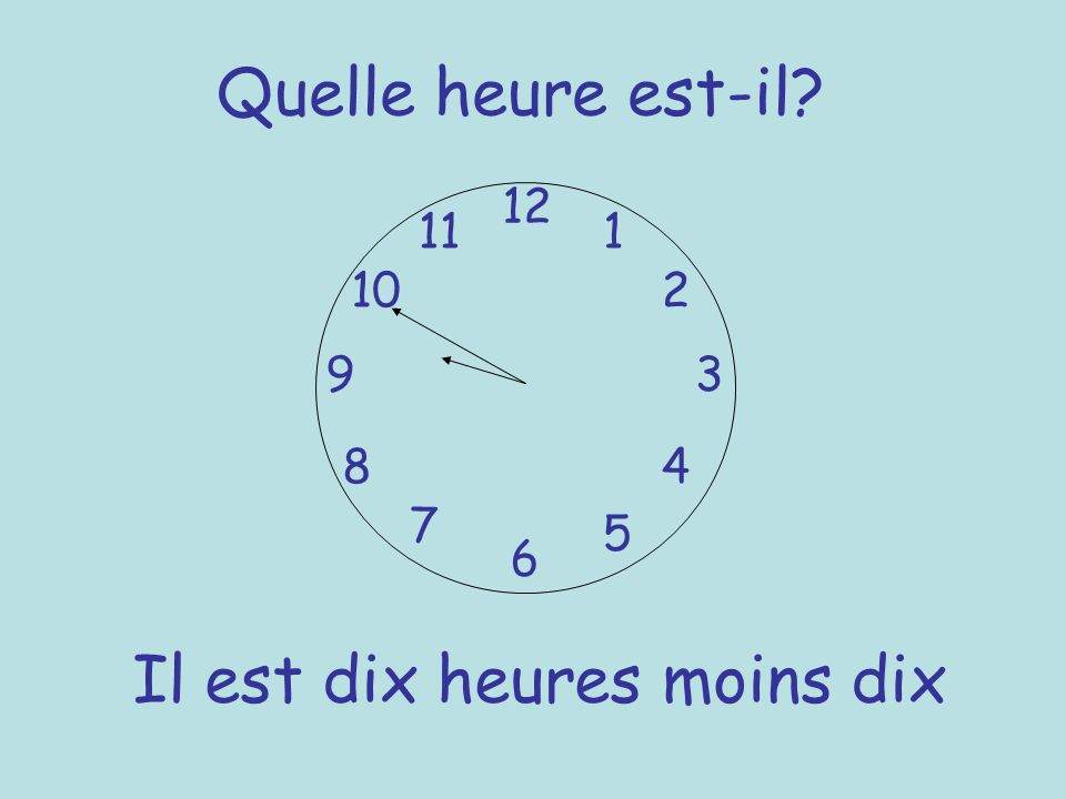 Quelle heure est-il? 12 6 93 8 7 1 2 5 4 10 11 Il est dix heures moins dix