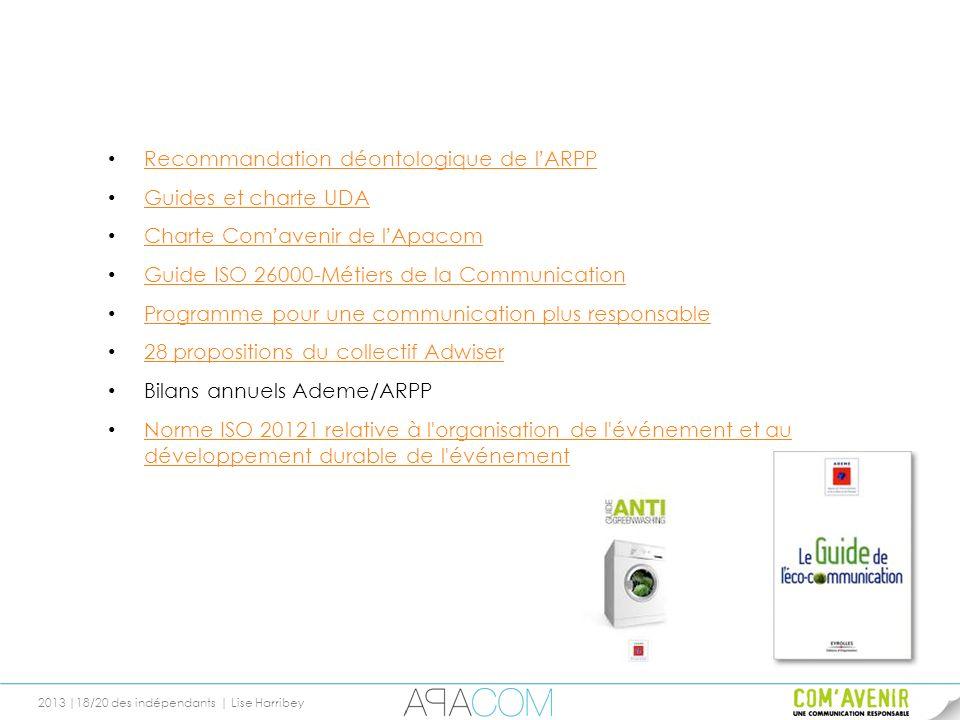 2013 |18/20 des indépendants | Lise Harribey Recommandation déontologique de lARPP Recommandation déontologique de lARPP Guides et charte UDA Charte C