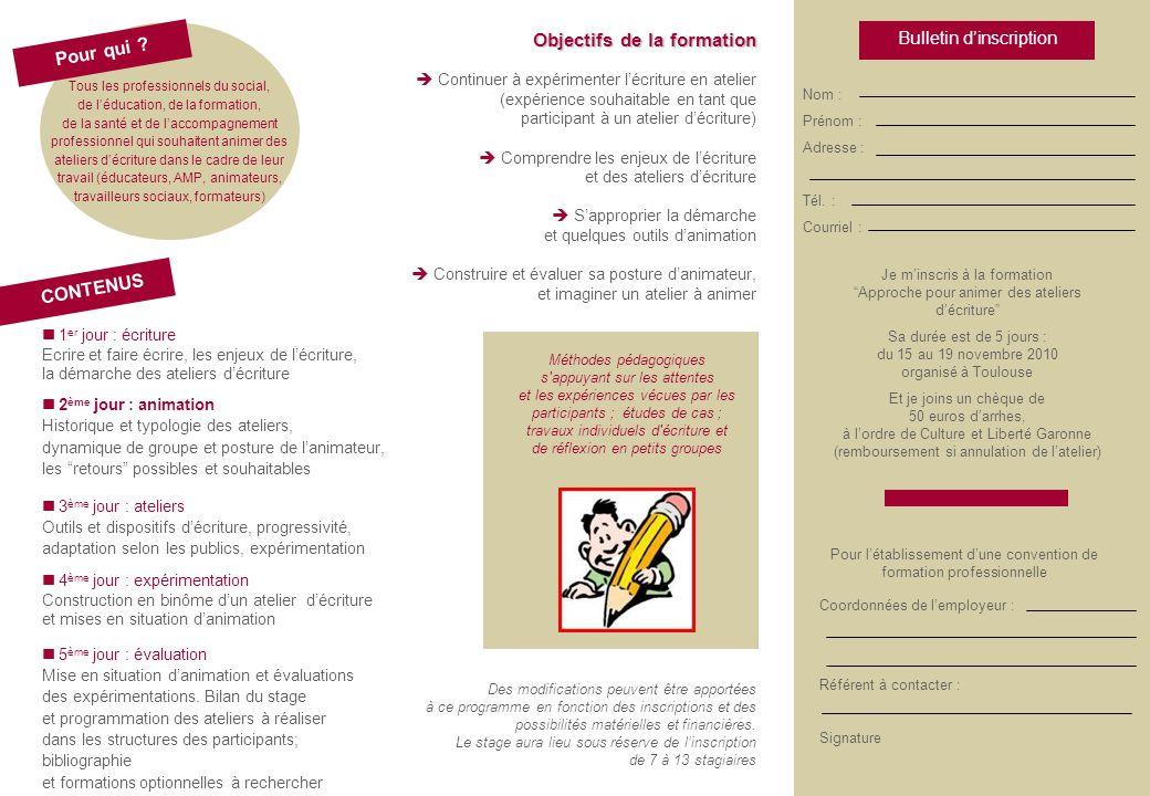 Objectifs de la formation CONTENUS Pour qui .