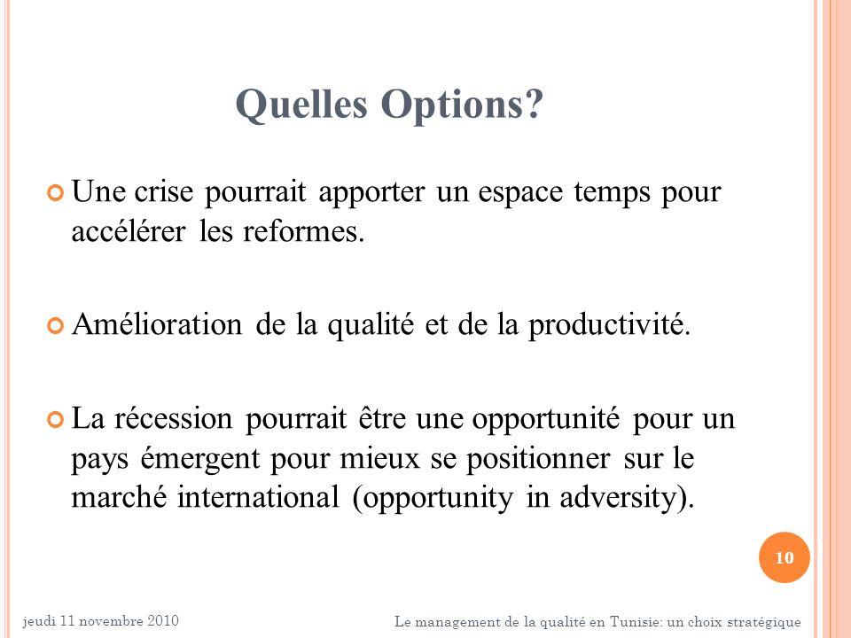 10 Quelles Options? Une crise pourrait apporter un espace temps pour accélérer les reformes. Amélioration de la qualité et de la productivité. La réce