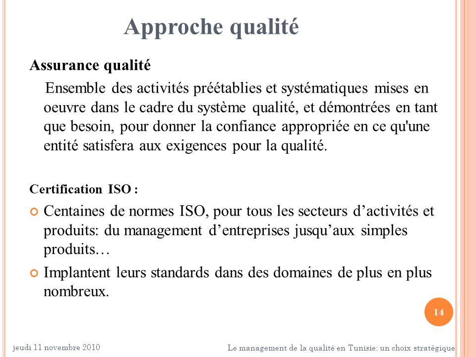14 Approche qualité Assurance qualité Ensemble des activités préétablies et systématiques mises en oeuvre dans le cadre du système qualité, et démontr